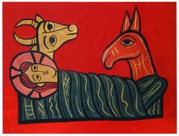 Weihnachtskarte mit Jesus, Ochs und Esel