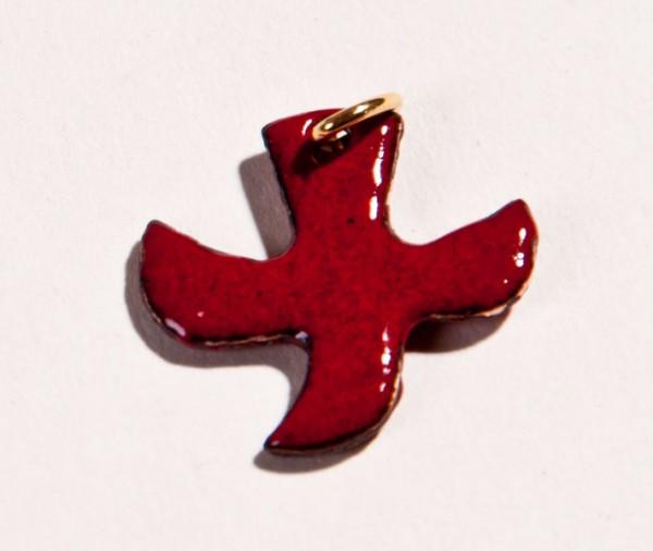 Kreuz/Taube, bordeaux (dunkelrot), klein