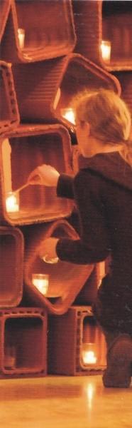 Lesezeichen Kerzen in Steinen